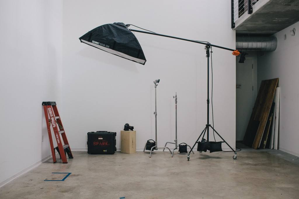 Studio view with gear in background